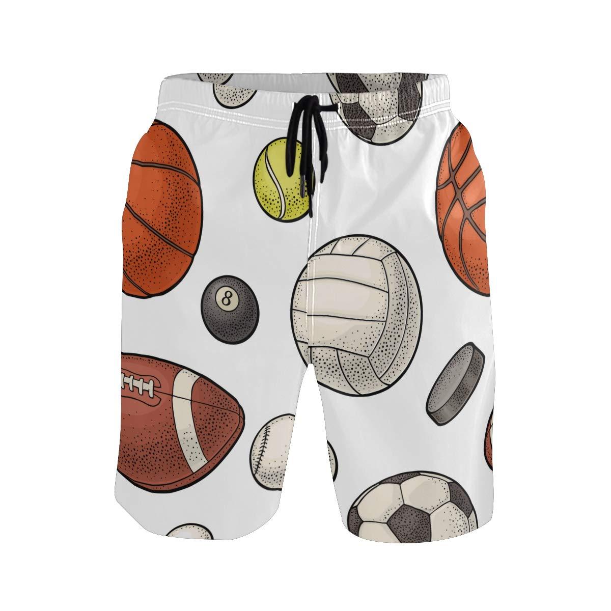 COVASA Mens Summer ShortsDifferent Kinds Sport Balls Isolated On White Backgro