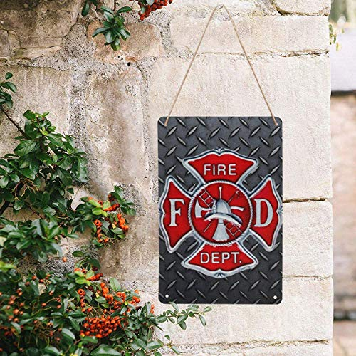 InterestPrint Fireman Firefighter Emblem,Fire Department DEPT Vintage Wall Art Printing on Metal Tin Sign Wall Hanging Decor for Garden House Signs 8x12 Inches