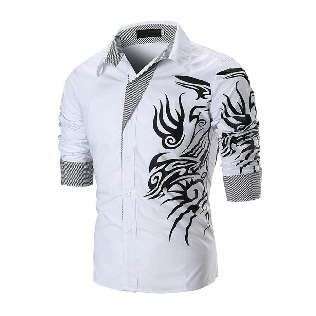 Ximandi Creative Printing Shirts Men Shirt Long Sleeve Casual Slim Fit Male Shirts