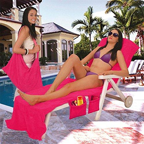 Okaeienen Microfiber Fiber Sunbath Lounger Bed Mate Chair Cover Beach Towel 83