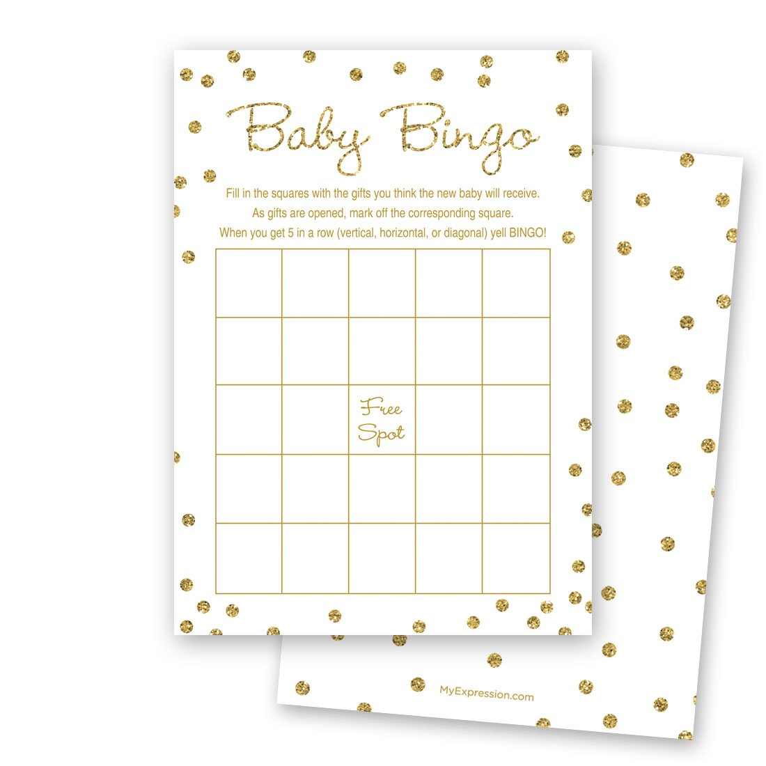 MyExpression.com 24 Cnt Gold Glitter Graphic Dots Baby Bingo Cards by MyExpression.com