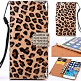 Leopard Print iPhone 7 Case, Leopard iPhone 7 Wallet Case, Miniko(TM) Fashion Sexy Leopard Animal Print Wallet Flip Stand Case Cover for iPhone 7 with Card Slot - Brown