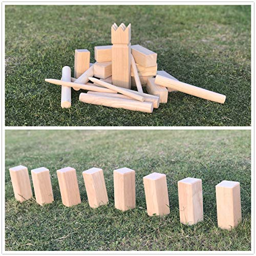 LAWN TIME Kubb Game Set - Rubberwood Viking Chess Outdoor Game - Kubb Viking Lawn Game with Carry Bag
