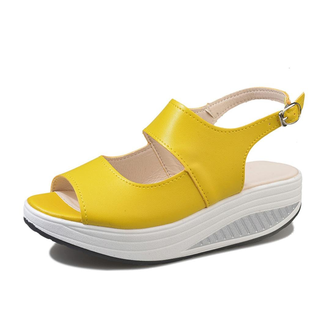 Ninasill Clearance ! Summer Shoe, Hot Shake Shoes Summer Sandals Fish Mouth Thick Bottom HIGT Heel Shoes (7.5, Yellow)