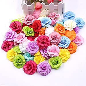 Fake Flower Heads in Bulk Wholesale for Crafts Artificial Silk Mini Rose Flower Head Wedding Home Decoration DIY Party Festival Decor Garland Scrapbook Gift Box Craft 30pcs/lot 96