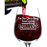 Something Brilliant Funny Wine Glass Day Gifts for Women- Premium Birthday Gift for Her, Mom, Best Friend- Unique Present Idea