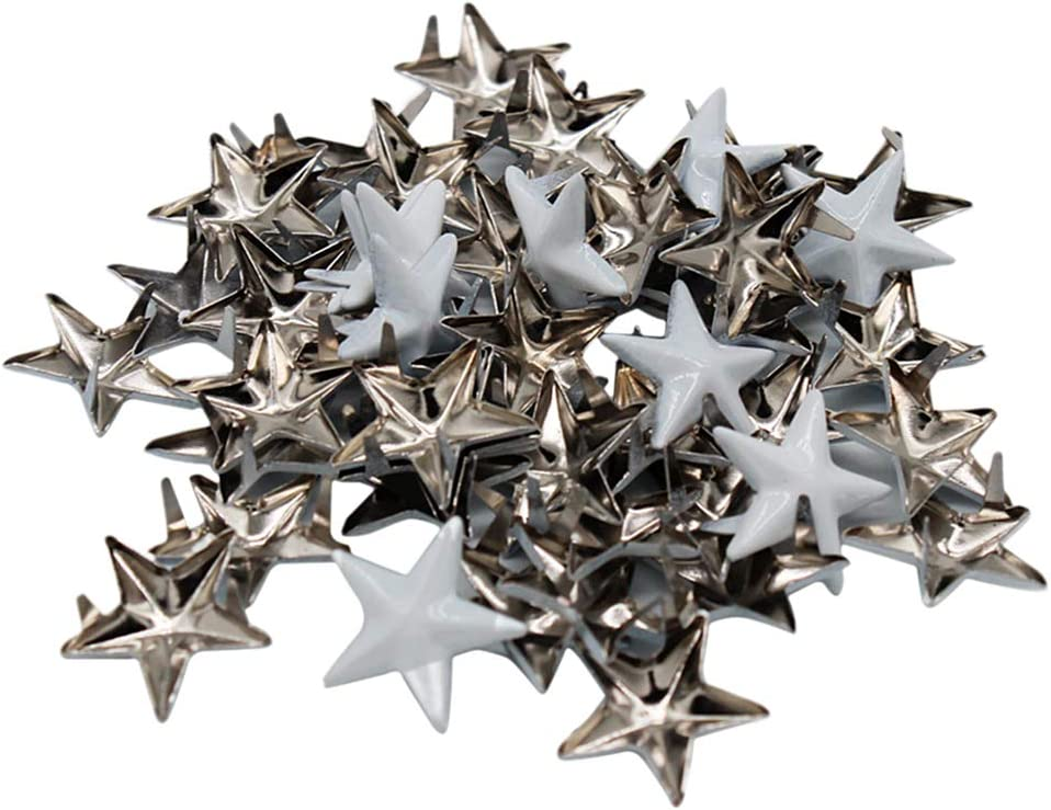 Bonarty 50pcs Goujons /étoiles en M/étal Argent/é Pointes De Rivet Taches Clouterie
