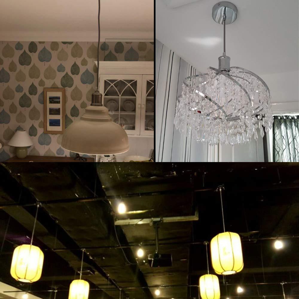 SPTwj 2 Pack Ceiling Light Pendant Fitting E27 Lamp Holder Suspension Flex Ceiling Pendant Light Fitting Kit Chrome