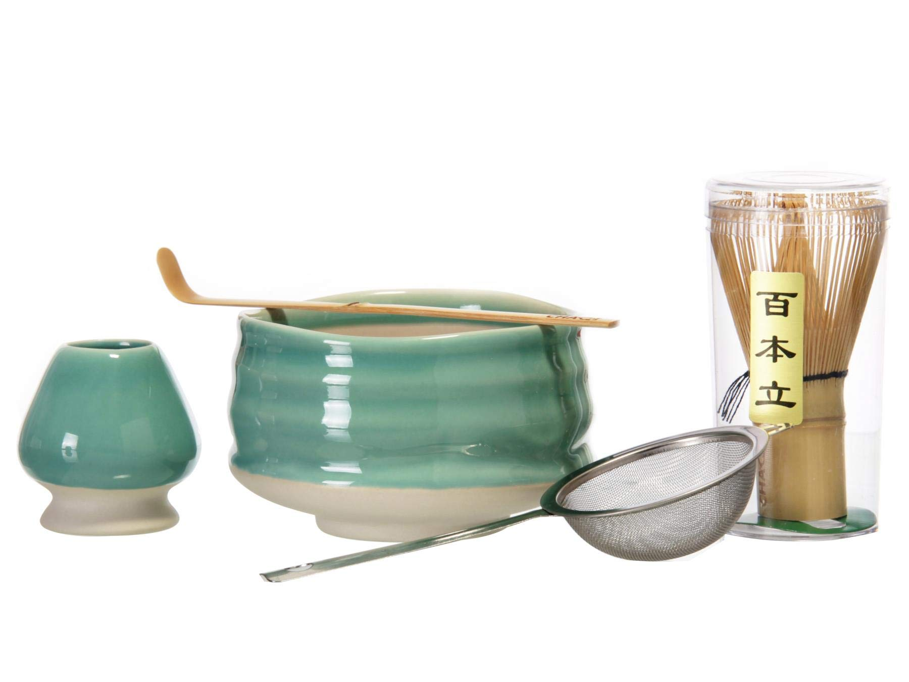 CHAQI Matcha Accessories Kit Include 5 items-100 Prongs Bamboo Whisk Chasen,Bamboo Scoop,Stainless Steel Tea Sifter and Ceramic Matcha Bowl & Whisk Holder (Cyan)