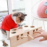 Lemonda 猫おもちゃ モグラ叩きもぐら 猫じゃらし 5穴の設計 興味アップアップ モグラ叩き 木製 噛むおもちゃ 猫遊び 知育玩具 運動不足 ストレス解消 ペット用品 お誕生日 バースデー プレゼント