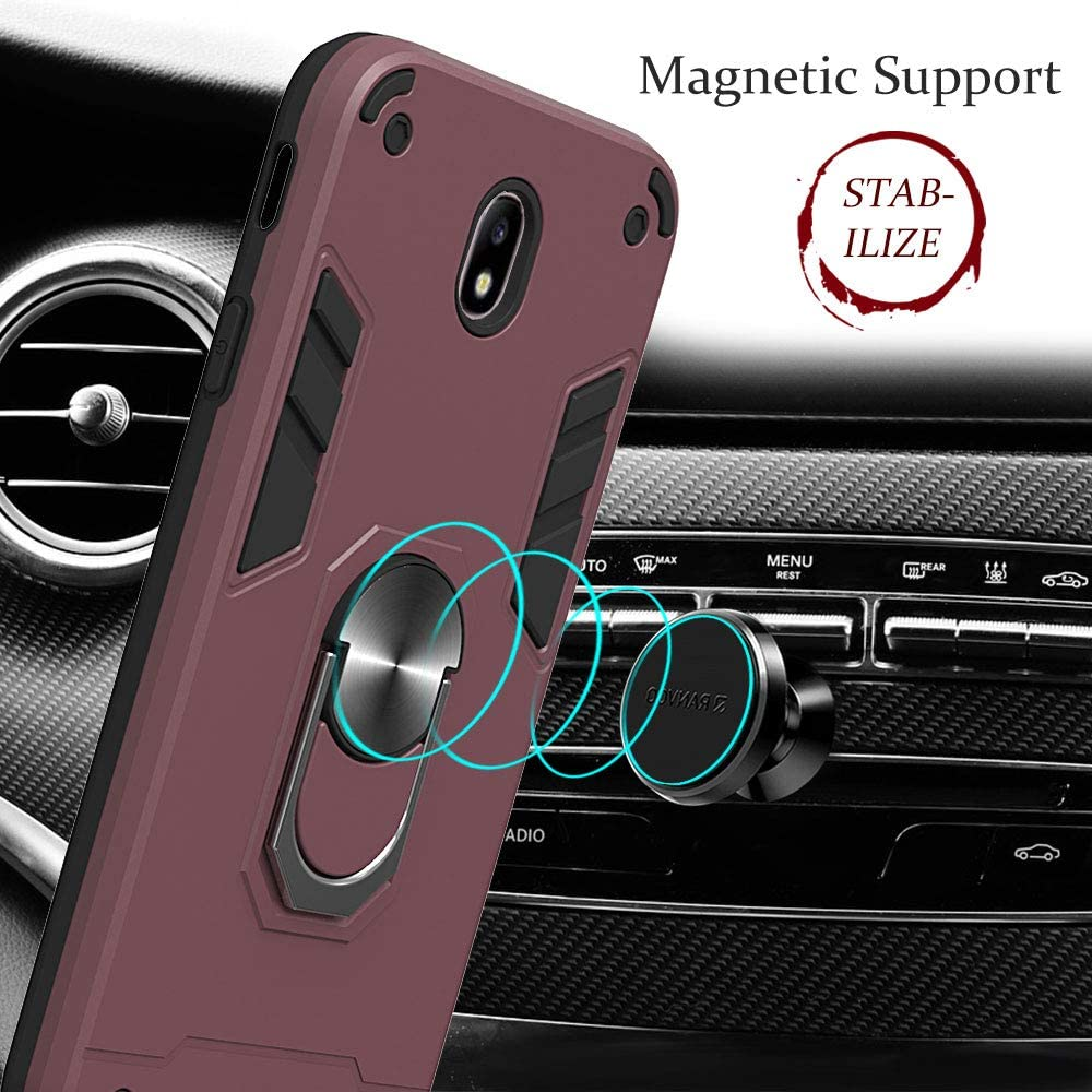 WIITOP Compatible with LG K40//K12 Plus//X4//Solo LTE//Harmony 3//Xpression Plus 2 Case Cover Military Grade Phone Case with 360 Degree Rotating Holder Kickstand Support Magnetic Car Mount Wine Red