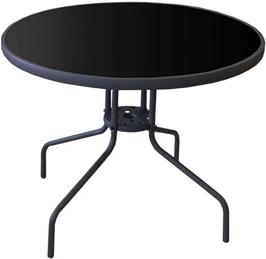 Mesa de jardín con mesa negra tablero de cristal redondo ø90 cm Antracita Balcón Mesa terraza mesa mesa de cristal para jardín Terraza: Amazon.es: Jardín