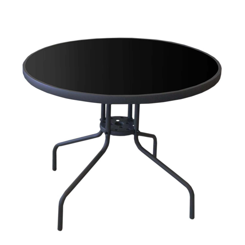 Mesa de jardín con mesa negra tablero de cristal redondo ø90 cm ...