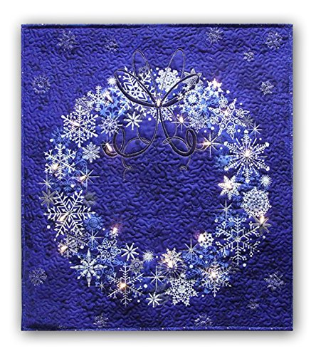 Easy Quilt Kit - Stonehenge Starlight Blue Wreath Starry Night Complete Wall Hanging Kit with Lights - Free Priority Shipping! (Patterns Free Wall Quilt Hangings)