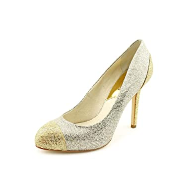 cb81f23d039b4 Image Unavailable. Image not available for. Color  Michael Kors Sinclair  Glittered Cap-Toe Pumps Silver Women s Shoes