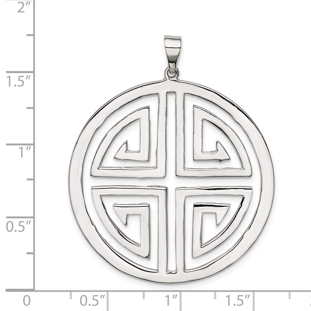 925 Sterling Silver Polished Circle with Design Charm Pendant