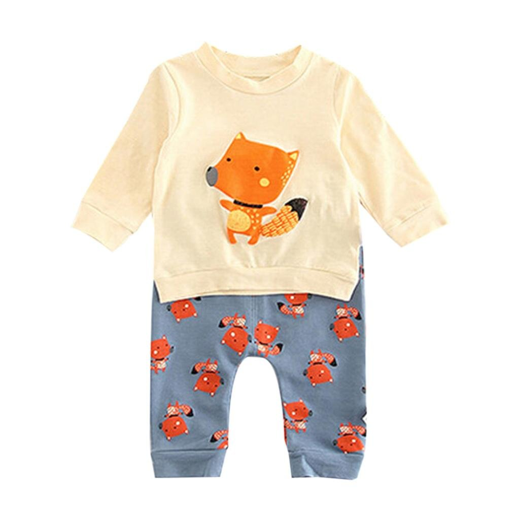 Clode Baby Outfit 0-3 Years Old Newborn Kids Baby Girls Boys Outfits Clothes Fox Pullover Sweatshirt Tops+Pants Outfits Set Clode-TS-00219