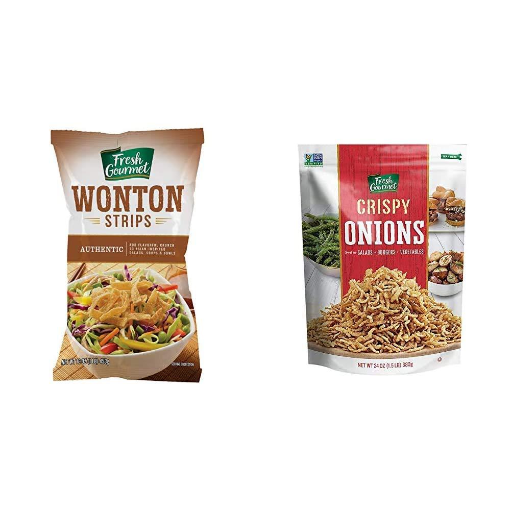Fresh Gourmet Wonton Strips, Authentic, 1 Pound & Crispy Onions, 24 Ounce