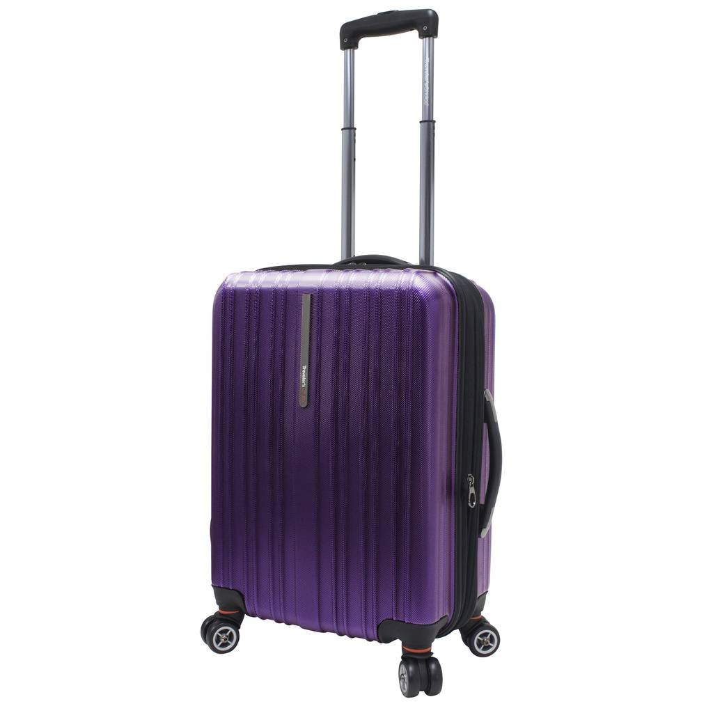 Traveler's Choice Tasmania 100% Polycarbonate Durable Hardshell Expandable 8-Wheel 21-inch Carry-On Spinner Luggage Suitcase, Purple