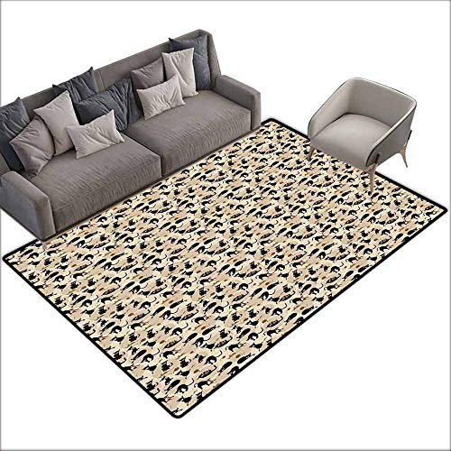 - Bathroom Rug Kitchen Carpet Cat,Hand Drawn Feline Pattern House Pet Playing with Mouse and a Ball of Yarn,Black Tan Sea Green 48