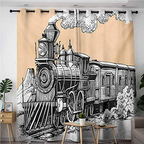 AndyTours Home Curtains,Steam Engine,Vintage Wooden Train Rail Wild West Wagon in Countryside Drawing Effect Artsy,for Bedroom Grommet Drapes,W84x72L,Peach White (West Bars Loop Patio)