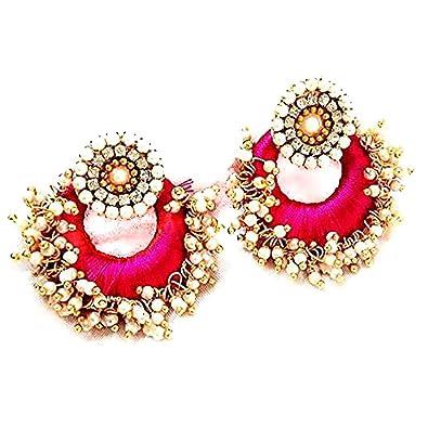 2628c0da3 Buy Floret Jewellery Designer Party Wear Beautiful Pink Silk Thread  Jhumki/Chandbali/Dangle Earrings For Women Online at Low Prices in India |  Amazon ...