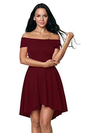 Boldgal Women s Off-Shoulder Skater Dress (Red)  Amazon.in  Clothing ... 1bc59fa6f