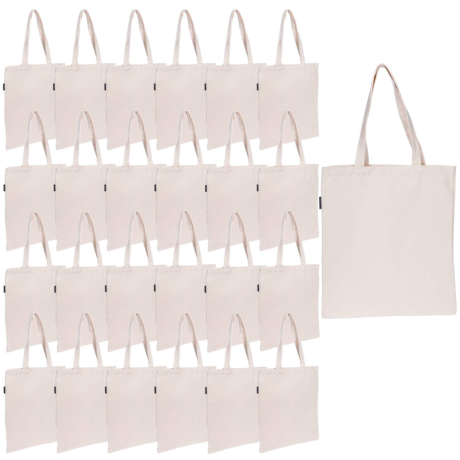 Canvas Tote Bag Bulk | Heavy Duty 12oz 100% Cotton Bag DIY for Crafting and Decorating | 13.4''W X 15.3'' H | Reusable Foldable Grocery Shopping Bag for Travel (25 pack) by JILLMO