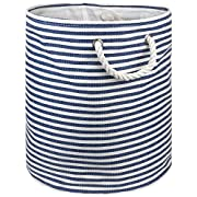 "DII Woven Paper Basket or Bin, Collapsible & Convenient Home Organization Solution for Bedroom, Bathroom, Dorm or Laundry (Medium Round - 14x17""), Nautical Blue Pin Stripe"