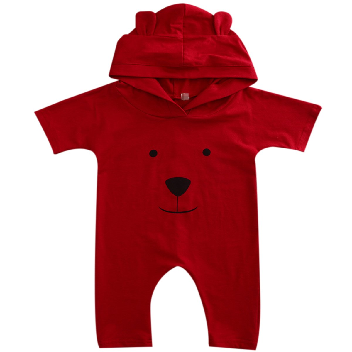 Bear Cartoon Hoodie Romper Outfit Pure Color Bodysuit for Baby Boys Girls