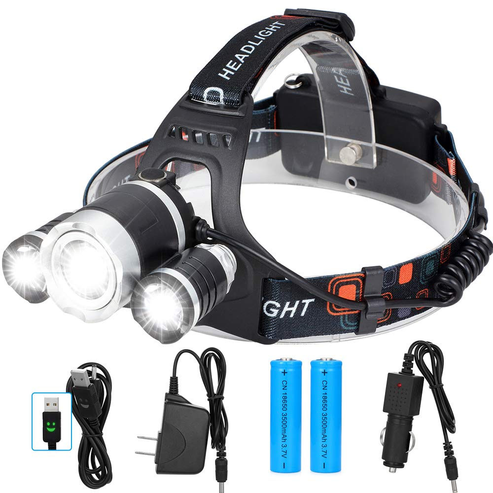 Gutsdoor LED Headlamp Rechargeable 5000 Lumen with 18650 Batteries Brightest Waterproof Headlight Zoomable 4 Mode Rotatable Lamp Included Car Charger Wall Charger and USB Cable