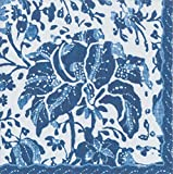 Caspari Plantation Print Indigo Blue Floral Luncheon Paper Table Napkins 20 in a pack 33cm square