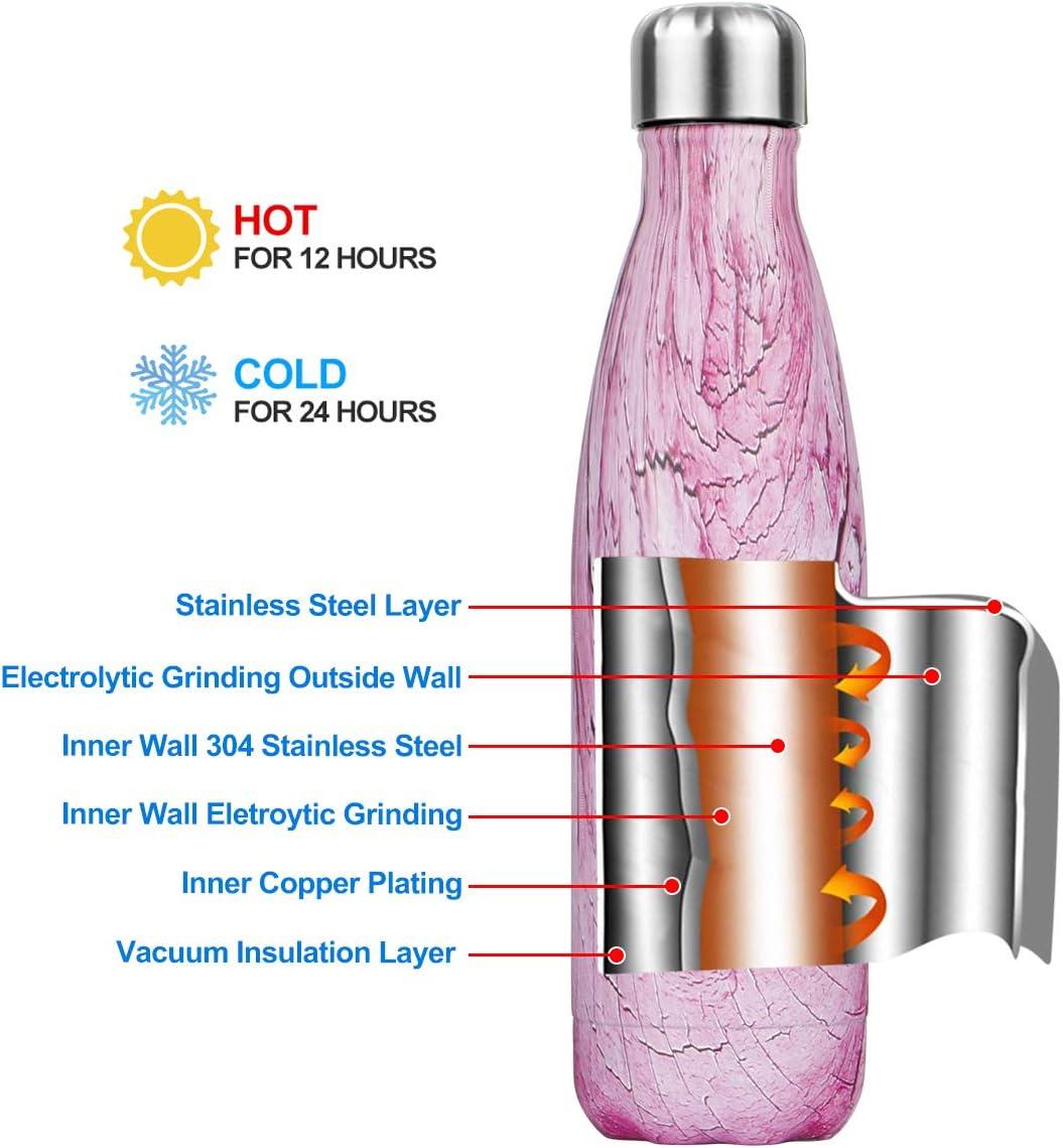 Froides Pendant 24heures Bouteille deau en Acier Inoxydable Isotherme Bouteille R/éutilisable Thermos Gourde sans BPA isol/é /à Double Paroi Gourde Isotherme 500//750//1000ml Chaudes Pendant 12 Heures