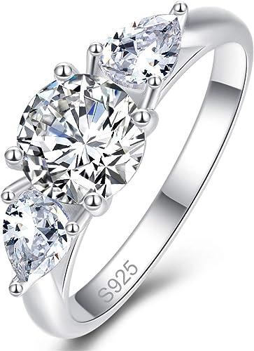 Bonlavie Promise Rings For Women Three Stone Engagement Ring 925