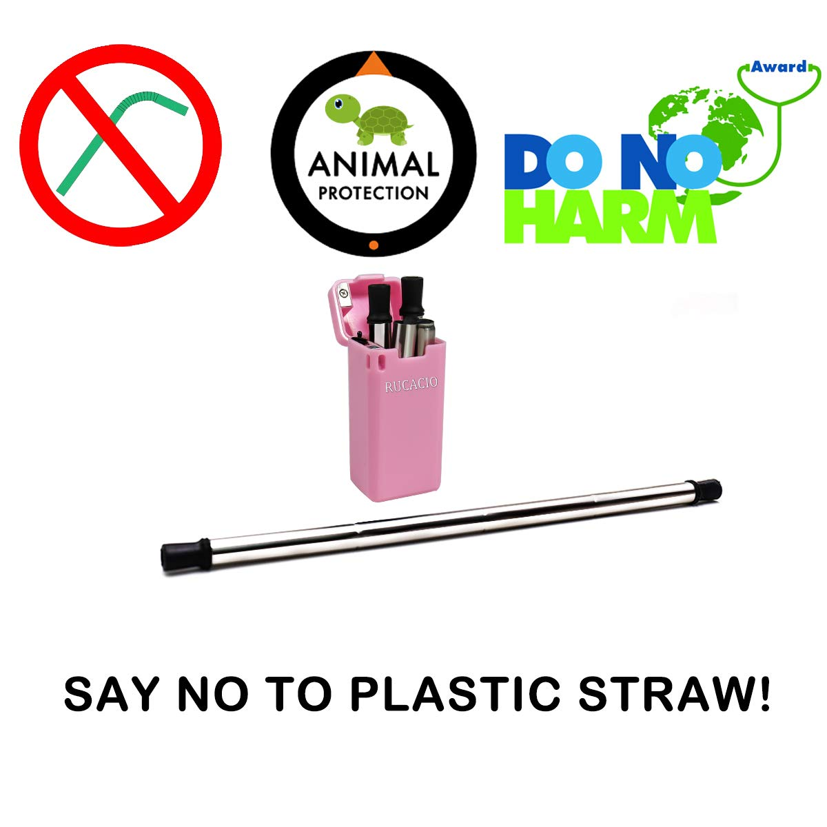 RUCACIO Collapsible Reusable Stainless Straw Medical-Grade Food-Grade Drinking Straws Portable with Hard Case Cleaning Brush (Pink) by RUCACIO (Image #3)