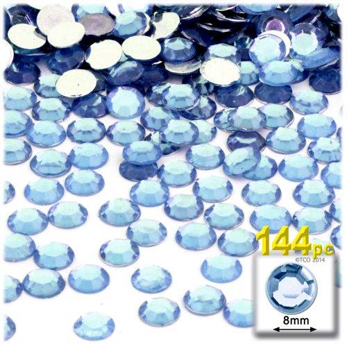 Back Light Blue Flat - The Crafts Outlet 144-Piece Flat Back Round Rhinestones, 8mm, Light Blue