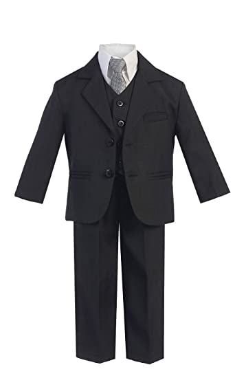 Little Gents 5 Piece Boys 2 Button Dress Suit with Shirt, Vest, and Tie
