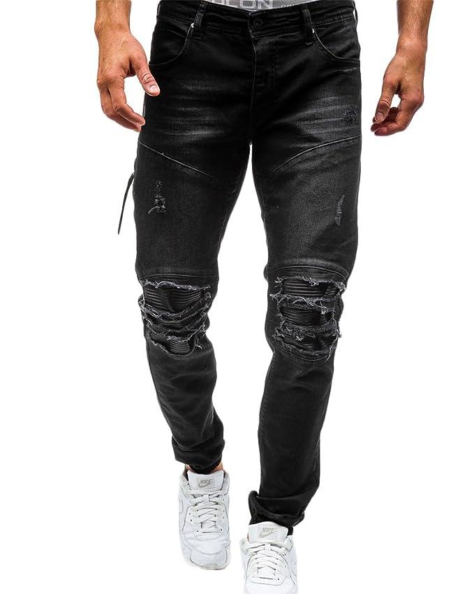 5745fe4e48 Qitun Hombre Pantalones de Mezclilla- Rotos Vaqueros Vintage Slim Fit  Ajustado Biker Jeans  Amazon.es  Ropa y accesorios