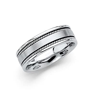 fef2f9f83ab 14k White Gold Wedding Band Solid Ring Rope Edge Satin Finish Comfort Fit  Polished Mens Womens