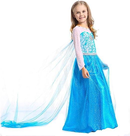 BLOIBFS Vestido De Princesa Elsa Fiesta Niña Disfraz Disfraces ...