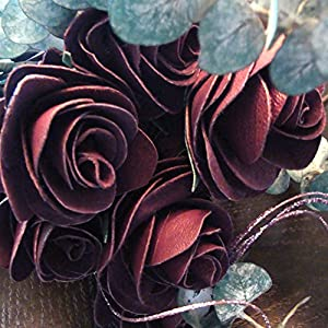 BINESHII Handcrafted Leather Roses in Four Colors Red, Purple, Black and Buckskin. Buy 1, 3, 6 or a Dozen. 56