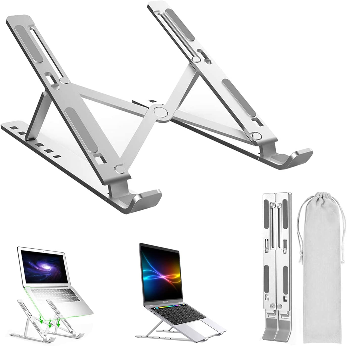 Aluminum Alloy Portable Laptop Stand, Adjustable Folding Notebook Stand Mount for MacBook Air Pro,HP,Lenovo,Dell,More 10-15.6