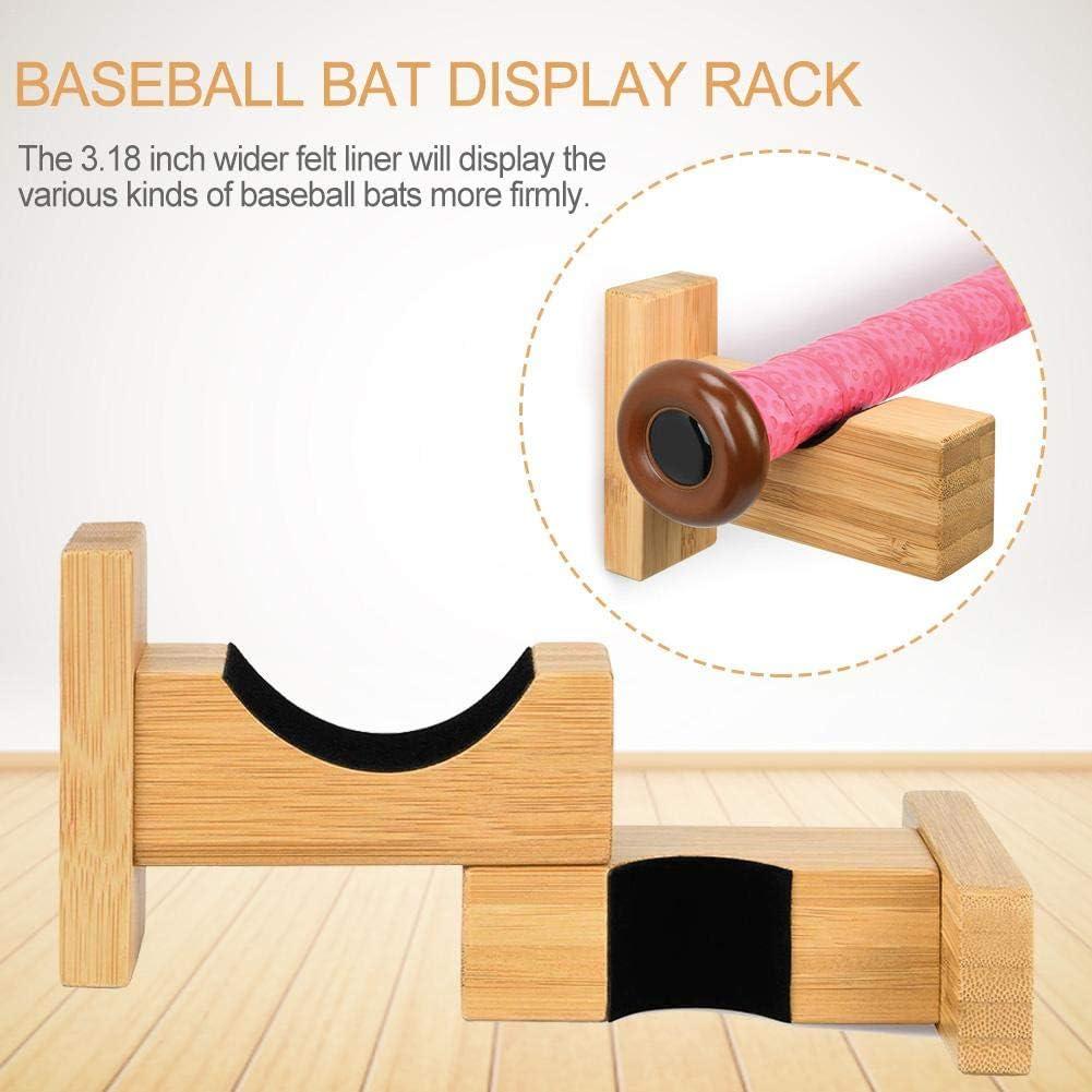 Baseball Bat Wall Mount for Horizontal Display Handmade Solid Bamboo//Ash Wood with Felt Liner and Hidden Screws Bat Wall Mount