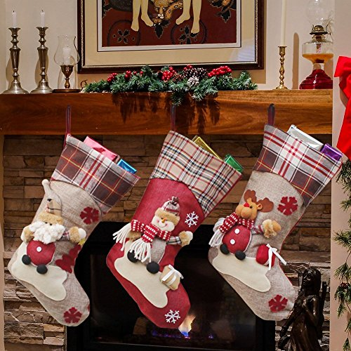 Quner Christmas Stockings Santa Claus, Snowman and Elk Stocking Kits for Christmas Decoration Christmas Gift (Multicolor) (Stocking Snowman 22 Christmas)