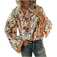 Armfre Tops Women's Vintage Floral Bell Sleeve V Neck Blouse Button up Casual Popover Shirt