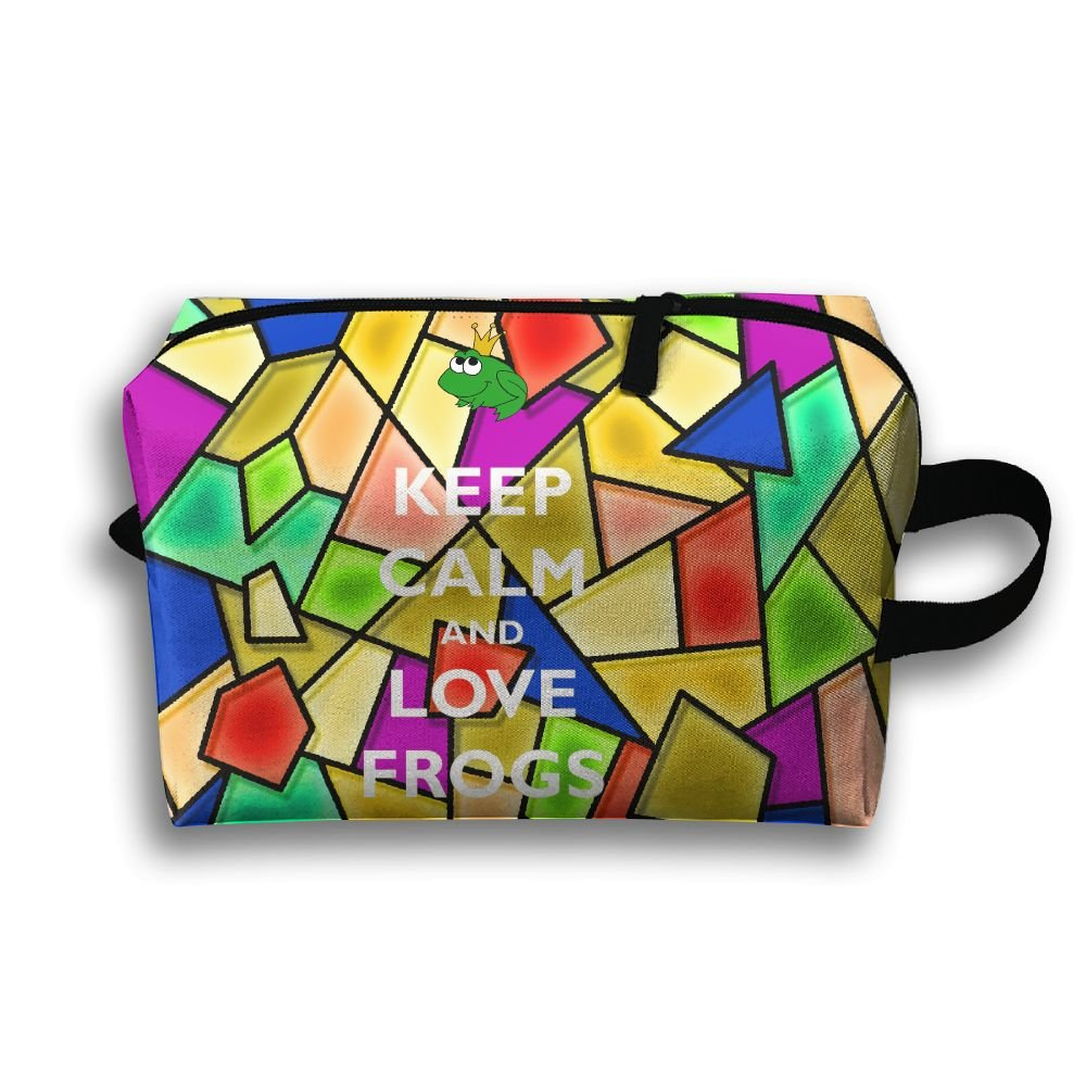 Keep Calm And Love Frogs Travel Bag Multifunction Portable Toiletry Bag Organizer Storage