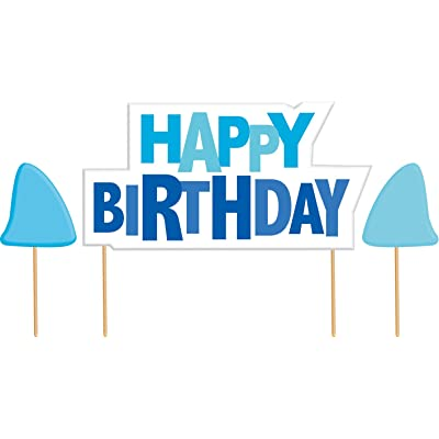 Happy Birthday Cake Banner Kit, Shark Splash: Childrens Cake Decorations: Kitchen & Dining