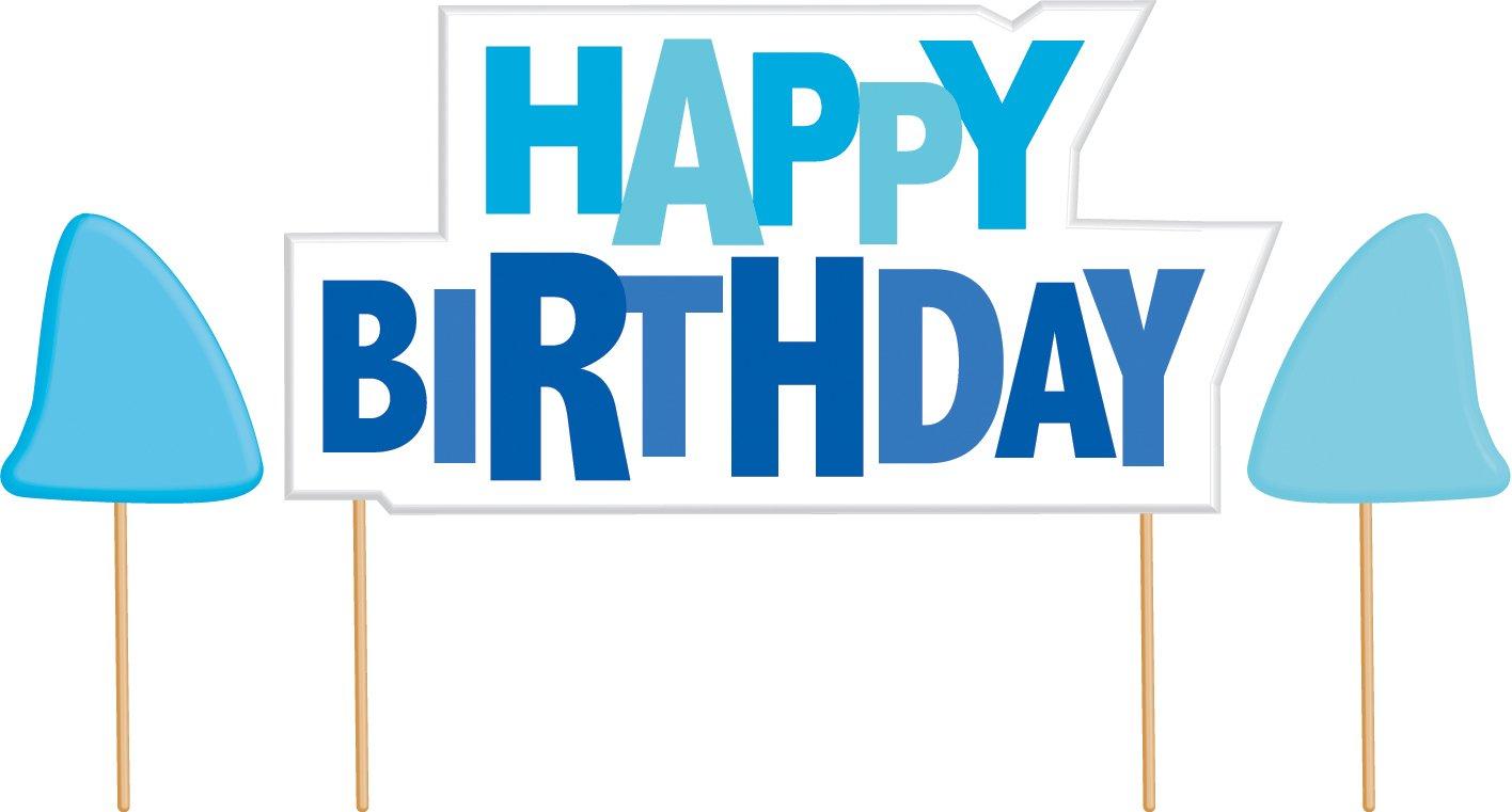 Happy Birthday Cake Banner Kit, Shark Splash