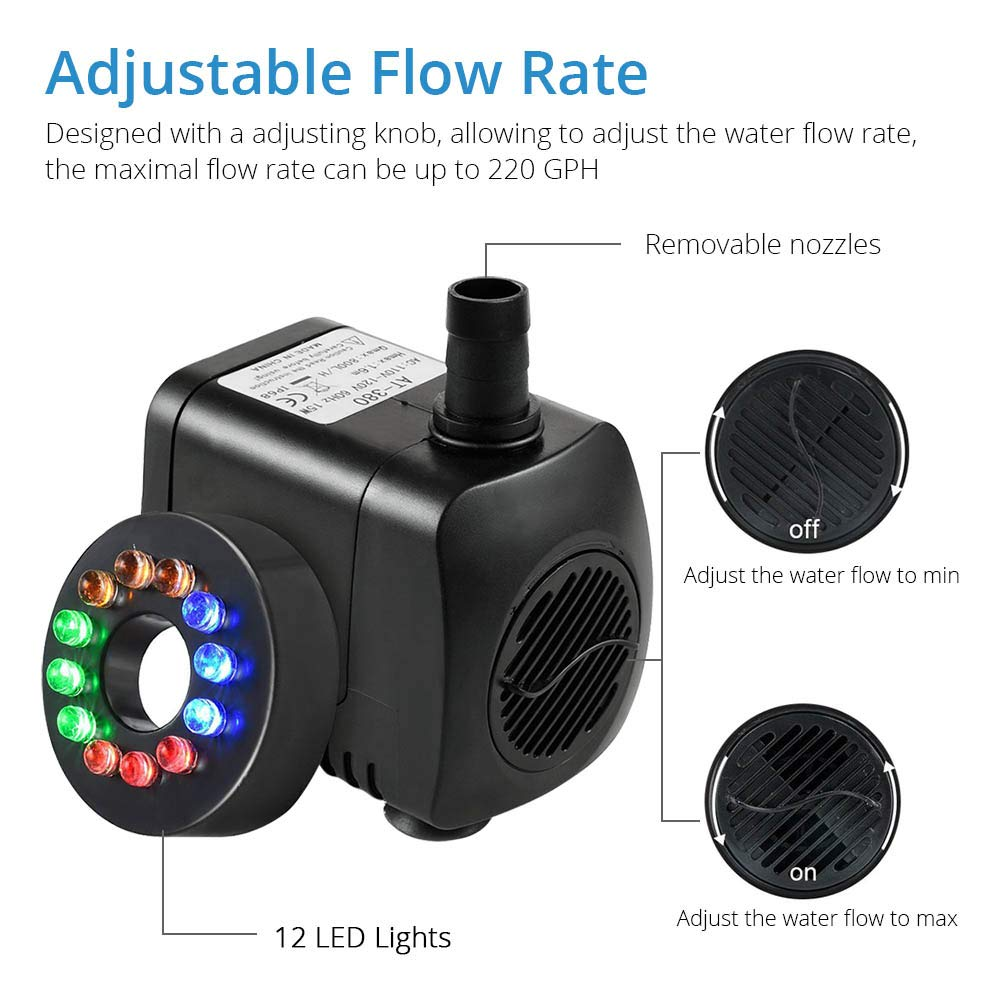 Amazon.com : NICREW 220 GPH Submersible Water Pump(800L/H, 15W), Ultra Quiet Fountain Pump with 12 Multi-Color LED Lights for Aquarium, Statuary, ...
