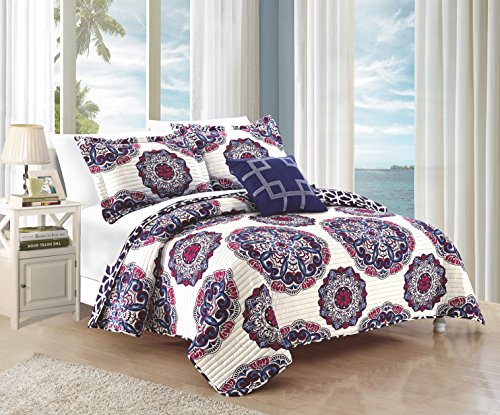 Chic Home Madrid 4 Piece Reversible Quilt Set Super Soft Microfiber Large Printed Medallion Design with Geometric Patterned Backing Bedding Set with Decorative Pillow and Sham, Full/Queen ()